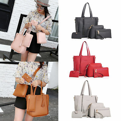 4Pcs/set Womens Ladies Leather Handbag Shoulder Tote Purse Messenger Satchel Bag
