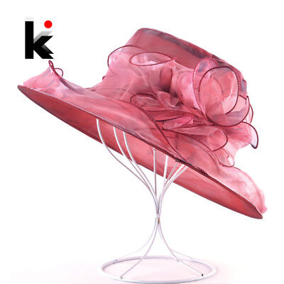 Women Summer Sun Hat Organza Flower Kentucky Derby Hats Ladies Wide Brim Sun