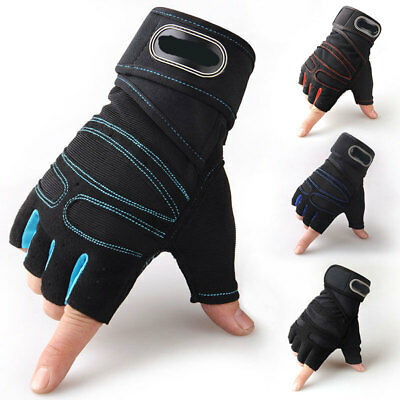 Gym Fitness Weight Lifting Gloves Mens Workout Training Wrist Support Strap Wrap
