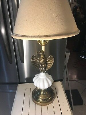 Vintage Brass Bald Eagle Electric Table Lamp MCM White Milk Glass Patriotic USA