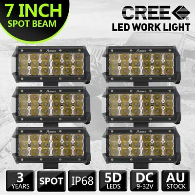 6pc 7inch Tri-row Cree LED Work Light Bar Spot Offroad LED Driving Lamp For Jeep