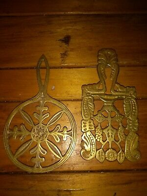 Antique Rare Set of Two Vintage Brass Trivets