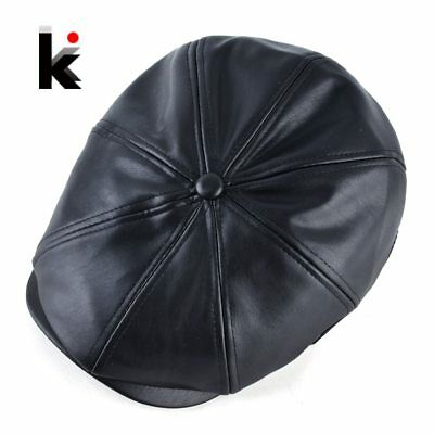Winter PU Berets Cap Men Autumn Faux Leather Octagonal Hats For Women Fashion
