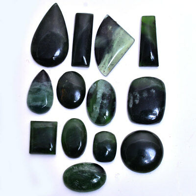 231 Cts~13 Pcs 100% Natural Untreated Green Serpentine Mix Cab Loose Gemstones