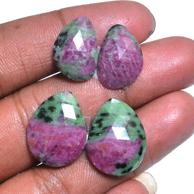 49 Carats Natural Ruby Zoisite Checker Cut 2 Pair Loose Gemstones