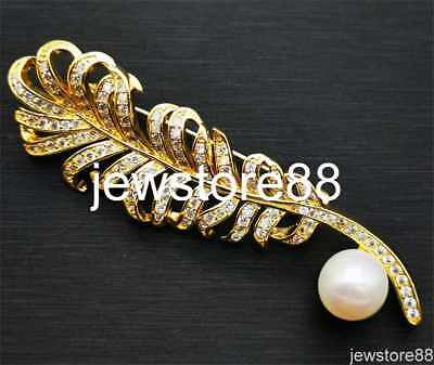Genuine natural white cultured Freshwater Pearl Brooch/breastpin/pendant