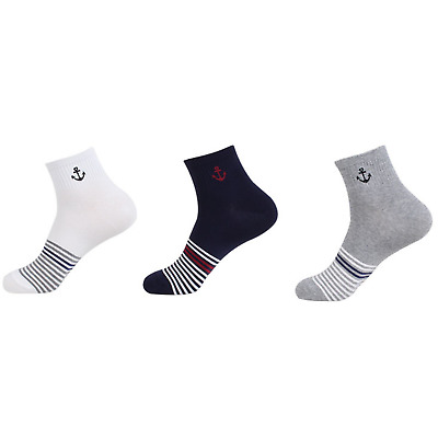 5 Pairs Mens Everyday Fashion Cotton Quarter Ankle Socks Striped Pattern