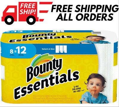 FREE SHIPPING Bounty Essentials Paper Towels Select-A-Size 8, 24 or 48 rolls