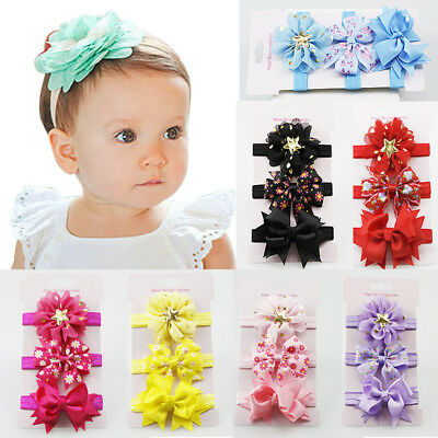 3PCS/Set Ribbon Bow Flower Hairband Headband Hair Accessories for Baby Girls