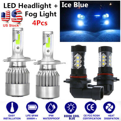 FOR TOYOTA PRIUS H4 9006 LED Headlight Bulbs Hi Lo Dual Beam Fog