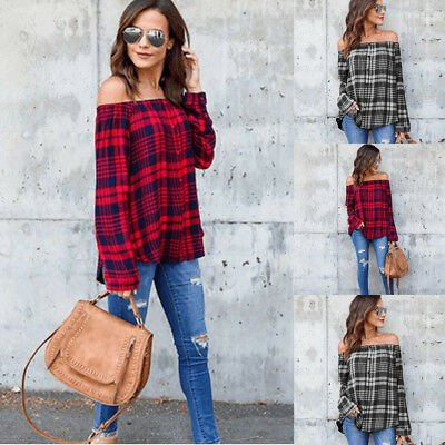 Fashion Plaid Casual V-Neck Shirt Women Off-shoulder Blouse Summer T-Shirt Tops