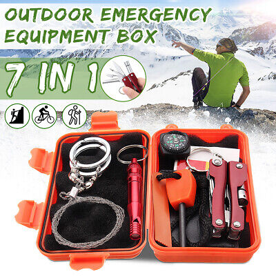 SOS Emergency Survival Equipment Kit 7in1 Outdoor Tactical Hiking Camping Tool