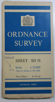 1960 old vintage OS Ordnance Survey 1:25000 First Series Map SD 58 Sedgwick