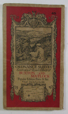 Old 1928 OS Ordnance Survey One-Inch Popular Edition Map 45 Buxton & Matlock