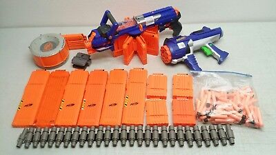 Lot of Nerf guns & magazines Hailfire Dart tag 35 round Drum 18 & 6 rd Mags
