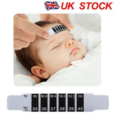 10X Kids Child Baby Forehead Strip Head Thermometer Fever Temperature Uk