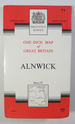 1965 Old Vintage OS Ordnance Survey One-inch Seventh Series Map 71 Alnwick