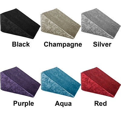 Crushed Velvet Foam Bed Wedge Back Support Pillow - Acid Reflux Relief - UK MADE