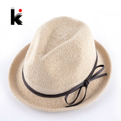 Fashion Spring Solid Straw Sun Hats With Bow-knot Ribbon For Women Summer Beach