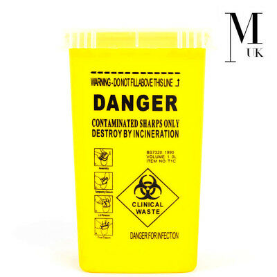 Sharps Box - Disposable sharp needle container 1 Litre Danger Medical Waste Tub