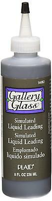 Plaid Gallery Glass Simulated Liquid Leading 8oz (256 ml) - Black