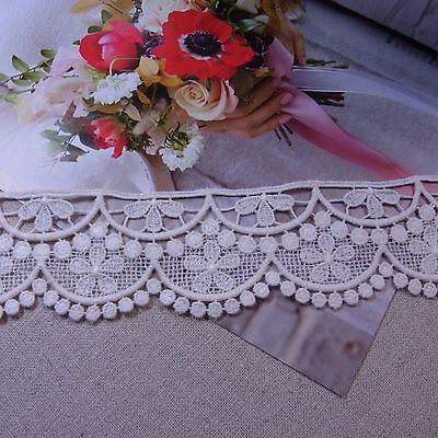 Vintage Style Scalloped Embroidered Cotton Crochet Lace Trim 6cm WD 1yard