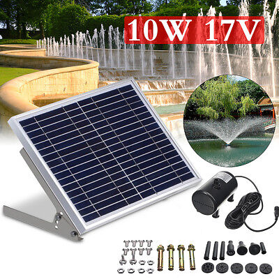 10W Solar Power Fountain Submersible Water Pump Panel Pond Pool Kit Garden