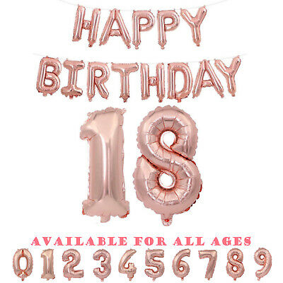 Rose Gold Happy Birthday Balloon Set - Number Age Foil Bunting Party Banner Pack