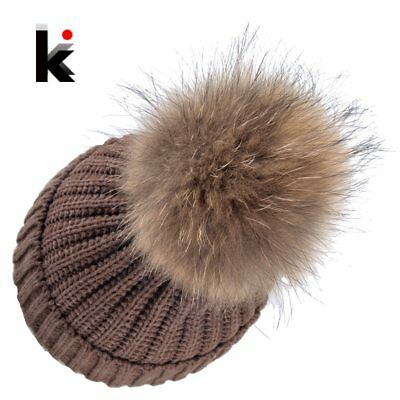 Autumn Winter Beanie Hat Knitted Wool Beanies Cap With Raccoon Fox Fur Pompom
