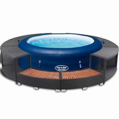 Bestway Jacuzzi Hinchable con Borde Rátan Sintético Negro Spa Piscina Inflable