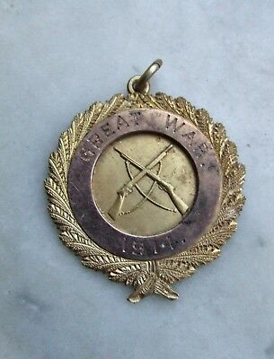 Rare Great War 1914 Medallion Badge, Brass & Gold, From Citizens of Clunes, Vic.