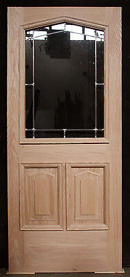 "36""x84""x1.75"" New Oak Wood Wooden Entry Exterior Door Leaded Glass Lite Window"