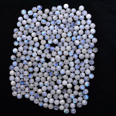 165 Pcs/192 Cts Top Quality Natural Blue Shine Moonstone Cabochon Gemstones~5MM