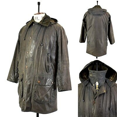 Men's Navy BARBOUR BORDER Waxed Cotton PILE LINING Outdoor Hooded Jacket UK 38