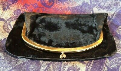 Vintage Mel-Ton purse clutch 1950's Black Velvet