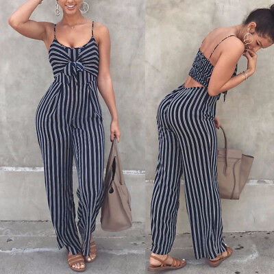 Women Ladies Summer Striped Bobo Playsuit Bodycon Party Jumpsuit Romper Trousers