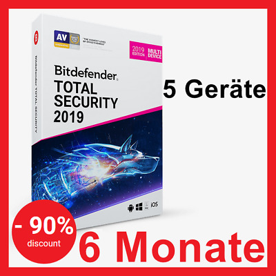 Bitdefender Total Security MultiDevice 2019:6 Monate,5 Geräte PC/Mac/iOS/Android