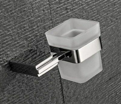 Chrome Finish Stainless Steel Wall Mounted Bathroom Toothbrush Holder Set Glass