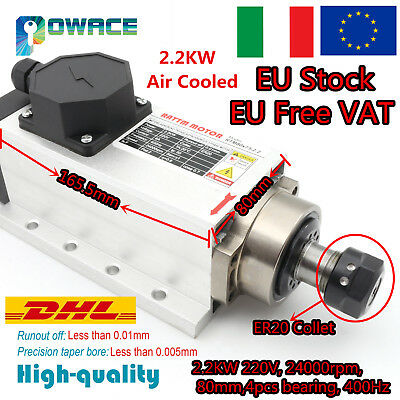 2.2KW Air Cooled Spindle Motor ER20 6A 24000rpm 400Hz for CNC Engraving Machine