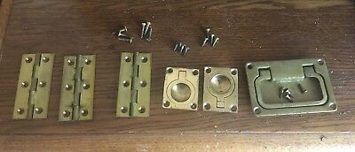 Selection Of Vintage Brass Flush Handles Rings And Hinges