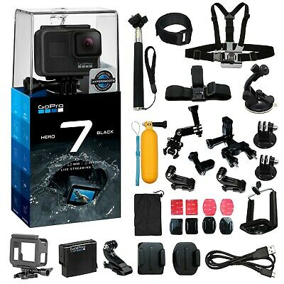 GoPro Hero7 Black +2 Batteries &Charger +FULL Accessory Kit Hero 7 Action Camera