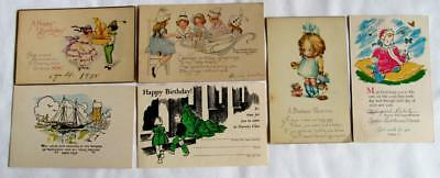 Lot of 5 Vintage 1920's BIRTHDAY WISHES Postcards #8-e