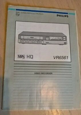 PHILIPS VR6561 VHS Video Cassette Recorder Instruction Guide Book User Manual