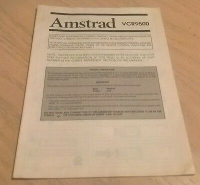 Amstrad VCR9500 VHS Video Cassette Recorder Instruction Book User Guide Manual