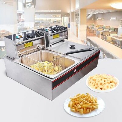 12L Commercial Deep Fryer Double Electric Basket Benchtop Cooker Stainless Steel