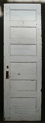 "27""x84"" Antique Vintage Interior Solid Wood Wooden Door 6 Ladder Stacked Panels"