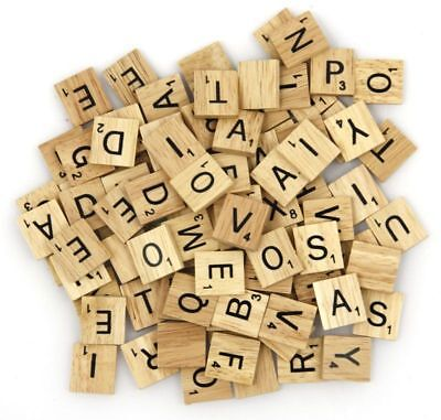 200pc WOODEN SCRABBLE TILES BLACK LETTERS NUMBERS FOR CRAFTS WOOD ALPHABETS