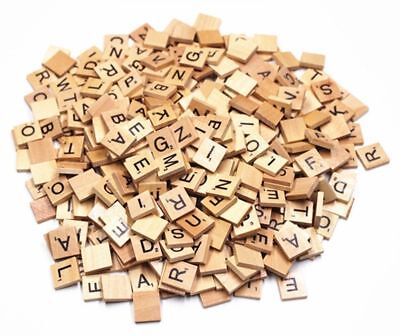 500pc WOODEN SCRABBLE TILES BLACK LETTERS NUMBERS FOR CRAFTS WOOD ALPHABETS