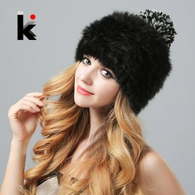 Nature Rex Rabbit Fur Hat Vogue Cap Female Knitted Real Fur Beanie Winter Caps