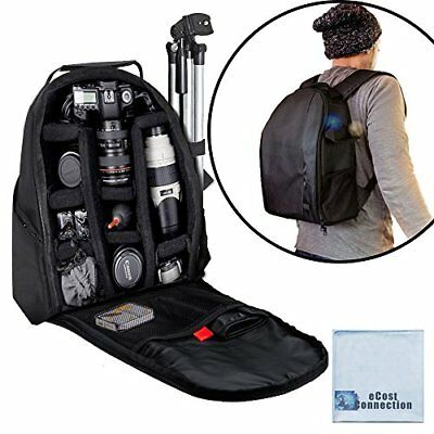 eCost BKP457 Deluxe Camera/Video Padded Backpack for SLR / DSLR Cameras with Mic